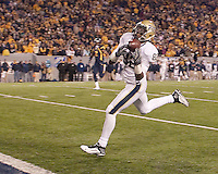 Pittsburgh wide receiver Jonathan Baldwin makes a 50-yard touchdown catch. The West Virginia Mountaineers defeated the Pittsburgh  Panthers 19-16 on November27, 2009 at Mountaineer Field at Milan Puskar Stadium, Morgantown, West Virginia.