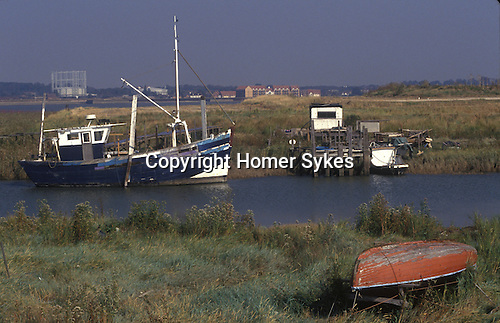 Swanscombe Peninsula North Kent Borough of Dartford UK. The Thames estuary. 1990s  Alternative life style getting away from it all. In distance new housing at Tilbury Essex.