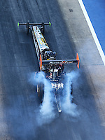 Jun 17, 2016; Bristol, TN, USA; NHRA top fuel driver Clay Millican during qualifying for the Thunder Valley Nationals at Bristol Dragway. Mandatory Credit: Mark J. Rebilas-USA TODAY Sports