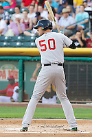 Nate Freiman (50) of the Sacramento River Cats at bat against the Salt Lake Bees at Smith's Ballpark on June 6, 2014 in Salt Lake City, Utah.  (Stephen Smith/Four Seam Images)