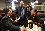 Nevada Senate Republicans, from left, Michael Roberson, Joseph Hardy and Ben Kieckhefer talk on the Senate floor at the Legislative Building in Carson City, Nev. on Wednesday, Feb. 6, 2013. .Photo by Cathleen Allison