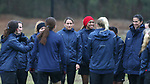 RALEIGH, NC - MARCH 13: Lynn Williams (left), Jessica McDonald (right), and Abby Erceg (NZL) (far right) huddle with teammates before practice begins. The North Carolina Courage held their first ever training session on March 13, 2017, at WRAL Soccer Center in Raleigh, NC to start their preseason before the 2017 NWSL Season. Prior to its offseason relocation the team was known as the Western New York Flash.