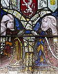 Medieval stained glass window, Holy Trinity church, Long Melford, Suffolk, England - Elizabeth Talbot(1443-1506), Elizabeth Tilney (1445-97)