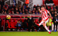 Charlie Adams of Stoke takes a long shot on goal during the EPL - Premier League match between Stoke City and Newcastle United at the Britannia Stadium, Stoke-on-Trent, England on 1 January 2018. Photo by Bradley Collyer / PRiME Media Images.