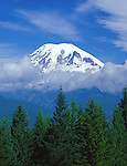 Mount Rainier National Park, WA <br /> Mount Rainier and Little Tahoma Peak encircled in halo of clouds