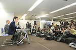 March 27, 2013, Tokyo, Japan - Former Livedoor Co. President Takafumi Horie holds a press conference in Tokyo on Wednesday, March 27, 2013. The one-time maverick Internet tycoon was released on parole after serving 21 months of a 30-month sentence for accounting fraud. (Photo by AFLO)