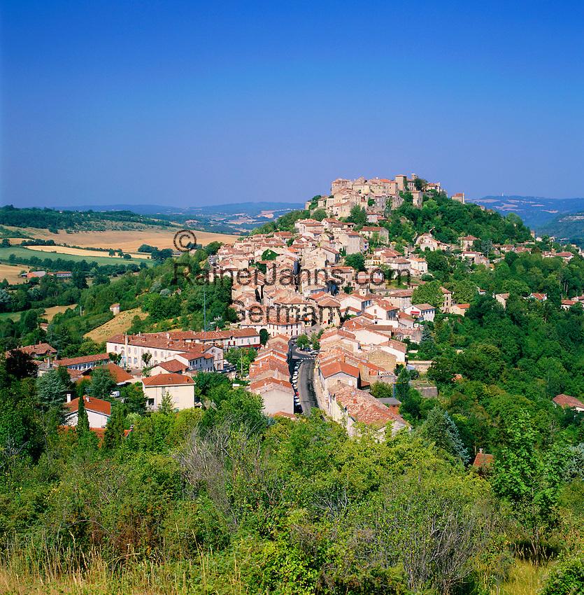 France, Midi-Pyrenees, Departement Tarn, Cordes-sur-Ciel: View of Town and Landscape | Frankreich, Midi-Pyrénées, Département Tarn, Cordes-sur-Ciel: Hauptort im Kanton Cordes-sur-Ciel, im Arrondissements Albi