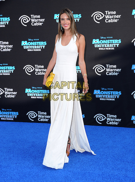 Alessandra Ambrosio  <br /> &quot;Monsters University&quot; Los Angeles Premiere held at the El Capitan Theatre, Hollywood, California, USA.<br /> June 17th, 2013<br /> full length dress yellow clutch bag white  sleeveless slit split <br /> CAP/RKE/DVS<br /> &copy;DVS/RockinExposures/Capital Pictures