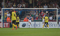 Tom Lockyer of Bristol Rovers clears off the line during the Sky Bet League 2 match between Bristol Rovers and Dagenham and Redbridge at the Memorial Stadium, Bristol, England on 7 May 2016. Photo by Mark  Hawkins / PRiME Media Images.