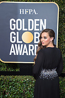 Actor Katherine Langford attends the 75th Annual Golden Globes Awards at the Beverly Hilton in Beverly Hills, CA on Sunday, January 7, 2018.<br /> *Editorial Use Only*<br /> CAP/PLF/HFPA<br /> &copy;HFPA/PLF/Capital Pictures