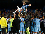 Pablo Zabaleta of Manchester City is thrown into the air on his last game during the English Premier League match at the Etihad Stadium, Manchester. Picture date: May 16th 2017. Pic credit should read: Simon Bellis/Sportimage