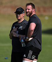 PRETORIA, SOUTH AFRICA - OCTOBER 05: Joe Locke, All Blacks Media Manager, with Kieran Read during the Rugby Championship New Zealand All Blacks captain's run at St David's Marist Inanda in Sandown, South Africa on Friday, October 5, 2018. Photo: Steve Haag / stevehaagsports.com