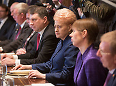 President Dalia Grybauskaite of Lithuania(2nd right) participates in a meeting with President Kersti Kaljulaid of Estonia, President Raimonds Vejonis of Latvia and United States President Donald Trump at The White House in Washington, DC, April 3, 2018. <br /> Credit: Chris Kleponis / Pool via CNP