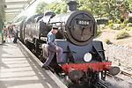 BR Standard Class 4 80104 steam locomotive train engine at platform of railway station, Swanage, Dorset, England, UK