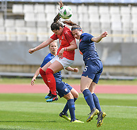 20190304 - LARNACA , CYPRUS : Austrian Sarah Zadrazil pictured in a duel with Slovakian Michaela Motovska during a women's soccer game between Slovakia and Austria , on Monday 4 th March 2019 at the GSZ Stadium in Larnaca , Cyprus . This is the third and last game in group C for both teams during the Cyprus Womens Cup 2019 , a prestigious women soccer tournament as a preparation on the Uefa Women's Euro 2021 qualification duels. PHOTO SPORTPIX.BE | DAVID CATRY