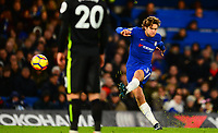 Marcos Alonso of Chelsea takes a shot on goal during the EPL - Premier League match between Chelsea and Brighton and Hove Albion at Stamford Bridge, London, England on 26 December 2017. Photo by PRiME Media Images.