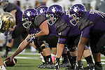 SIOUX FALLS, SD, OCTOBER 8:  The University of Sioux Falls offensive line is ready for the snap against Southwest Minnesota State University in the first half Saturday night at Bob Young Field. (Photo by Dave Eggen/Inertia)