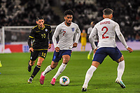 England Under 21's forward Reiss Nelson (7) chased by Kosovo Under 21's forward Lirim Kastrati (10) during the UEFA Euro U21 Qualifying match between England U21 & Kosovo U21 at KCOM Craven Park, Hull, England on 9 September 2019. Photo by Stephen Buckley / PRiME Media Images.