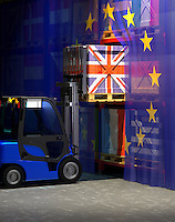 Forklift truck removing UK crate from European Union shelf