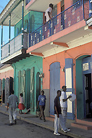 AJ2287, Haiti, Caribbean, Pastel painted walls on colonial houses in the city of Cap-Haitian in Haiti.