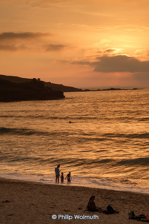 Sunset on Porthmeor beach.  St.Ives, Cornwall.