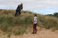 Jaye Marie Green (USA) in the sand on the 4th getting a ruling from a referee during Round 3 of the Ricoh Women's British Open at Royal Lytham &amp; St. Annes on Saturday 4th August 2018.<br /> Picture:  Thos Caffrey / Golffile<br /> <br /> All photo usage must carry mandatory copyright credit (&copy; Golffile | Thos Caffrey)
