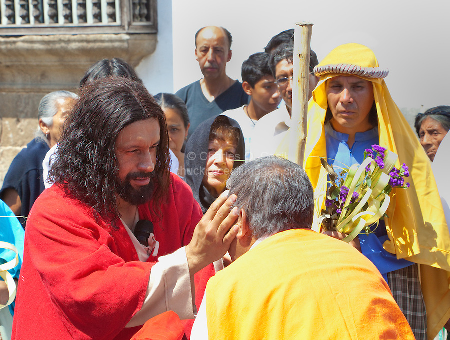 Jesus Restores the Sight of a Blind Man.  (Luke 18: 35-43).  Palm Sunday Re-enactment of events in the life of Jesus, by the group called Luna LLena (Full Moon), a group of volunteers in Antigua, Guatemala.
