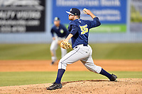 Columbia Fireflies pitcher Cannon Chadwick (35) delivers a pitch during a game against the Asheville Tourists at McCormick Field on April 13, 2018 in Asheville, North Carolina. The Tourists defeated the Fireflies 5-1. (Tony Farlow/Four Seam Images)