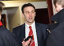 Stirling Albion boss GREIG McDONALD who at the age of 29 is Britain's youngest manager, talks to the press after his Stirling Albion side to palyed Arbroath in the Scottish Football League, Second Division.