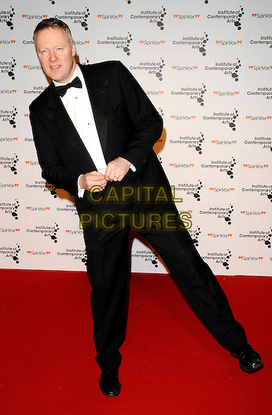 "RORY BREMNER .""Figures Of Speech"" ICA Annual Gala Inside Arrivals, The Brewery, London, England, March 26th 2009..full length black suit bow tie tux tuxedo funny one leg .CAP/CAN.©Can Nguyen/Capital Pictures"