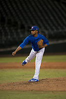 AZL Cubs 1 relief pitcher Fauris Guerrero (41) follows through on his delivery during an Arizona League game against the AZL Cubs 1 at Sloan Park on June 28, 2018 in Mesa, Arizona. The AZL Athletics defeated the AZL Cubs 1 5-4. (Zachary Lucy/Four Seam Images)