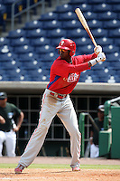 Philadelphia Phillies outfielder Dominic Brown during an Instructional League game against the Toronto Blue Jays at Brighthouse Field on October 7, 2011 in Clearwater, Florida.  (Mike Janes/Four Seam Images)