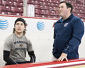 Jace Hennig (Merrimack - 9), Matt LaMalfa (Merrimack - Dir-Hockey Ops) - The Boston College Eagles defeated the visiting Merrimack College Warriors 2-1 on Wednesday, January 21, 2015, at Kelley Rink in Conte Forum in Chestnut Hill, Massachusetts.