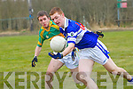 David Culhane of Ballylongford get the better of Mike Brosnan Knocknagoshel in the div 5 notyhern section on Sunday at Knocknagoshel GAA Ground on Sunday................. . ............................... ..........