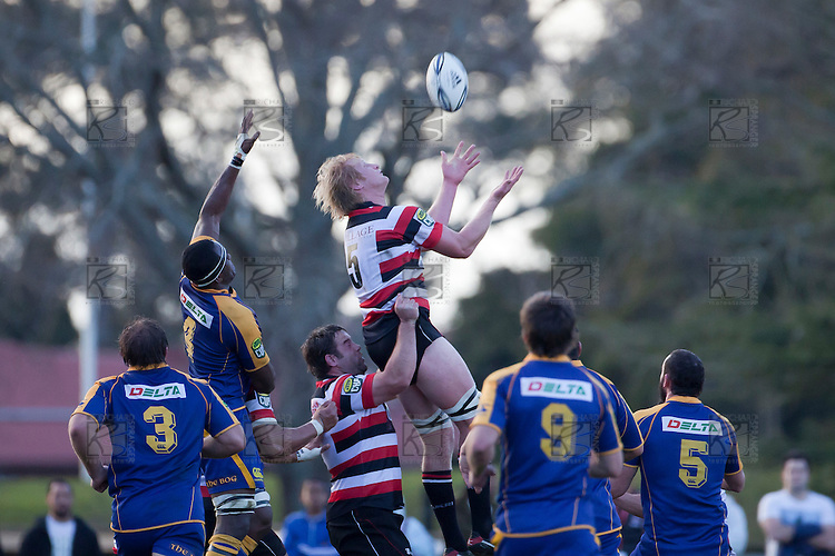 Jamie Chipman gets lifted by Jono Owen to claim the ball from a restart. ITM Cup Round 1 game between the Counties Manukau Steelers and Otago, played at Bayer Growers Stadium, Pukekohe, on Saturday July 31st 2010. Counties Manukau Steelers won 29 - 13 after leading 22 - 6 at halftime.
