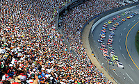 Oct 5, 2008; Talladega, AL, USA; NASCAR Sprint Cup Series drivers Travis Kvapil (28) and Casey Mears (5) lead the field to the green flag during the Amp Energy 500 at the Talladega Superspeedway. Mandatory Credit: Mark J. Rebilas-