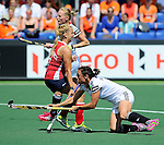 The Hague, Netherlands, June 08: During the first half during the field hockey group match (Women - Group B) between USA and Germany on June 8, 2014 during the World Cup 2014 at GreenFields Stadium in The Hague, Netherlands. Final score 4-1 (1-0) (Photo by Dirk Markgraf / www.265-images.com) *** Local caption *** Tina Bachmann #2 of Germany