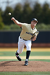Wake Forest Demon Deacons starting pitcher Colin Peluse (8) delivers a pitch to the plate against the Louisville Cardinals at David F. Couch Ballpark on March 18, 2018 in  Winston-Salem, North Carolina.  The Demon Deacons defeated the Cardinals 6-3.  (Brian Westerholt/Sports On Film)
