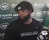 Sheldon Richardson #91 of the New York Jets speaks with the media after the second day of team training camp held at Atlantic Health Jets Training Center in Florham Park, NJ on Sunday, July 30, 2017.