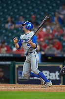 Luke Heyer (26) of the Kentucky Wildcats follows through on his swing against the against the Houston Cougars in game two of the 2018 Shriners Hospitals for Children College Classic at Minute Maid Park on March 2, 2018 in Houston, Texas.  The Wildcats defeated the Cougars 14-2 in 7 innings.   (Brian Westerholt/Four Seam Images)