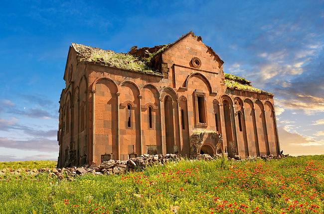 The cathedral of Ani, Also known as Surp Asdvadzadzin (church of the Holy Mother of God), its construction was started in the year 989, under King Smbat II.  Ani archaelogical site on the Ancient Silk Road , Anatolia, Turkey