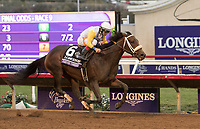 DEL MAR, CA - NOVEMBER 03: Forever Unbridled #6, ridden by John Velazquez pulls away during the Longines Breeders Cup Distaff on Day 1 of the 2017 Breeders' Cup World Championships at Del Mar Thoroughbred Club on November 3, 2017 in Del Mar, California. (Photo by Sue Kawczynski/Eclipse Sportswire/Breeders Cup)