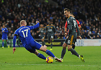 Leicester City's James Maddison under pressure from Cardiff City's Aron Gunnarsson<br /> <br /> Photographer Kevin Barnes/CameraSport<br /> <br /> The Premier League -  Cardiff City v Leicester City - Saturday 3rd November 2018 - Cardiff City Stadium - Cardiff<br /> <br /> World Copyright © 2018 CameraSport. All rights reserved. 43 Linden Ave. Countesthorpe. Leicester. England. LE8 5PG - Tel: +44 (0) 116 277 4147 - admin@camerasport.com - www.camerasport.com