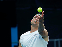 26th January 2020; Melbourne Park, Melbourne, Victoria, Australia; Australian Open Tennis, Day 7; Tennys Sandgren of USA serves during his match against Fabio Fognini of Italy
