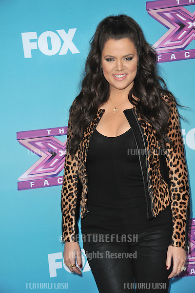"""Khloe Kardashian Odom at the press conference for the season finale of Fox's """"The X Factor"""" at CBS Televison City, Los Angeles..December 17, 2012  Los Angeles, CA.Picture: Paul Smith / Featureflash"""