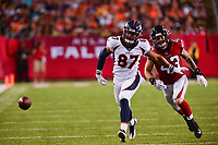 Ohio, Canton - August 1, 2019: Denver Broncos tight end Noah Fant #87 misses a catch as Atlanta Falcons defensive back Parker Baldwin #43 pursues during a pre-season game at the Tom Benson stadium in Canton, Ohio August 1, 2019. This game marks start of the 100th season of the NFL. (Photo by Don Baxter/Media Images International)