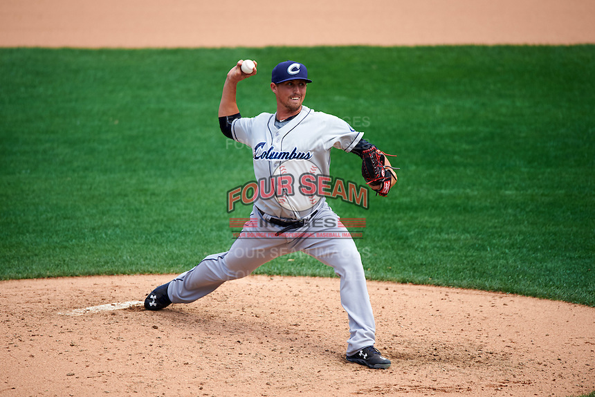 Columbus Clippers relief pitcher Shawn Armstrong (43) delivers a pitch during a game against the Rochester Red Wings on June 16, 2016 at Frontier Field in Rochester, New York.  Rochester defeated Columbus 6-2.  (Mike Janes/Four Seam Images)