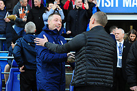 Neil Harris Manager of Cardiff City shakes hands with Steve Cooper Head Coach of Swansea City during the Sky Bet Championship match between Cardiff City and Swansea City at the Cardiff City Stadium in Cardiff, Wales, UK. Sunday 12 January 2020