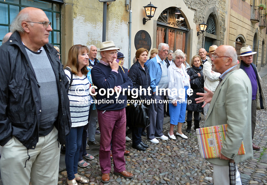 Bruno Pirola,  official tourist guide, in square outside Duomo, Bergamo, Italy, Irish, 201410073673<br />