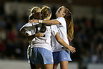 13 November 2015: North Carolina's Jessie Scarpa (12) celebrates her goal with Summer Green (left) and Annie Kingman (right). The University of North Carolina Tar Heels hosted the Liberty University Flames at Fetzer Field in Chapel Hill, NC in a 2015 NCAA Division I Women's Soccer game. UNC won the game 3-0.